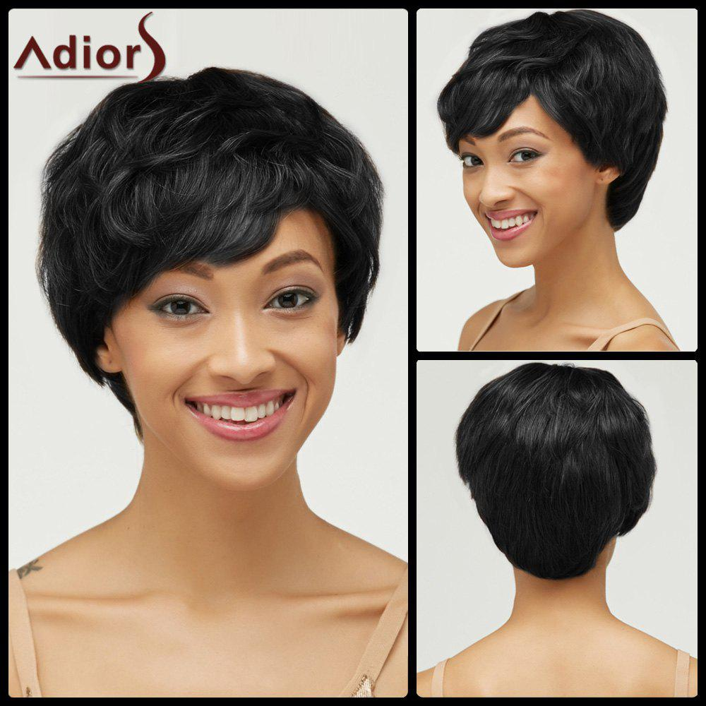Fluffy Short Pixie Cut Haircut Curly Capless Synthetic WigHair<br><br><br>Color: BLACK