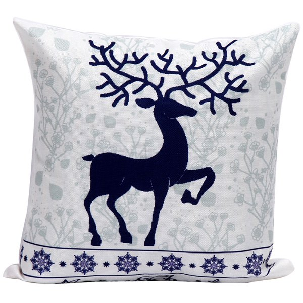 Merry Christmas Elk Cushion Home Pillow Cover merry christmas linen seat cushion pillow case