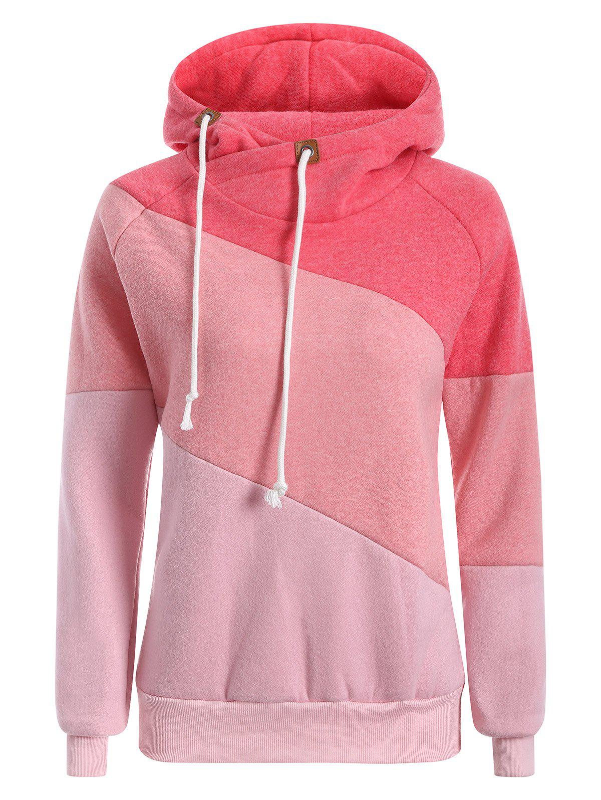 Raglan Sleeve Drawstring Color Panel HoodieWomen<br><br><br>Size: 2XL<br>Color: PINK