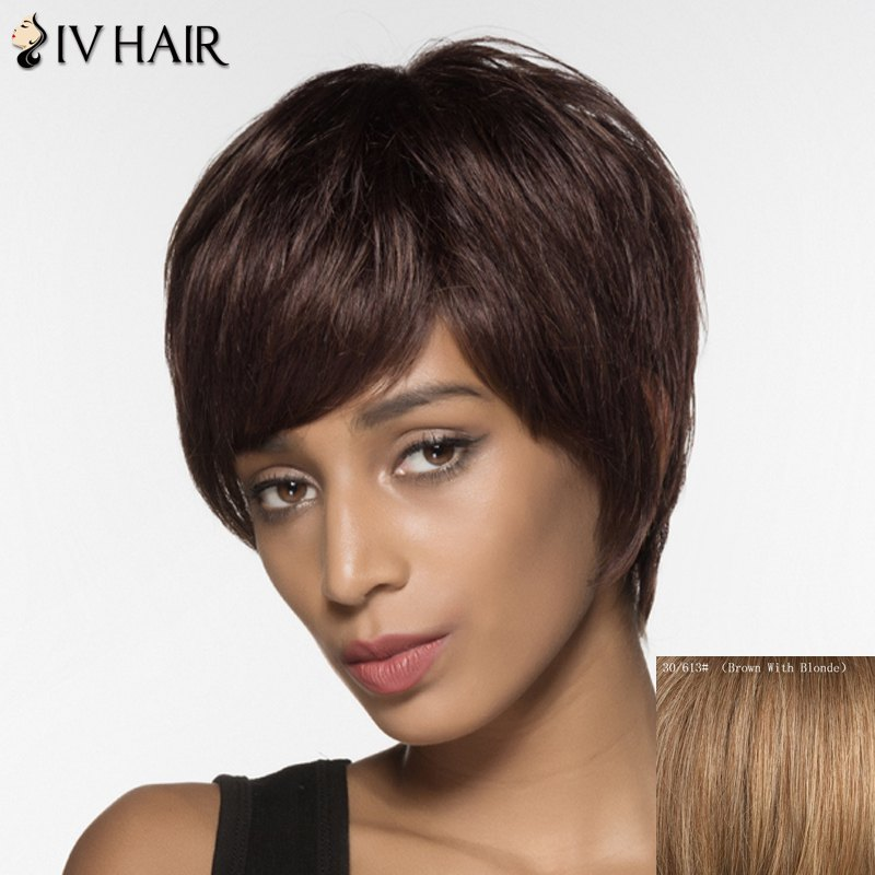 Short Oblique Bang Siv Hair Straight Handsome Human Hair Wig - BROWN/BLONDE