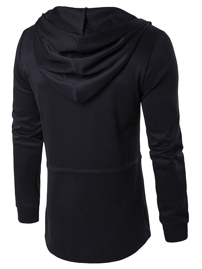 Open Front Cloak Hooded Full Sleeves Hoodie - BLACK L
