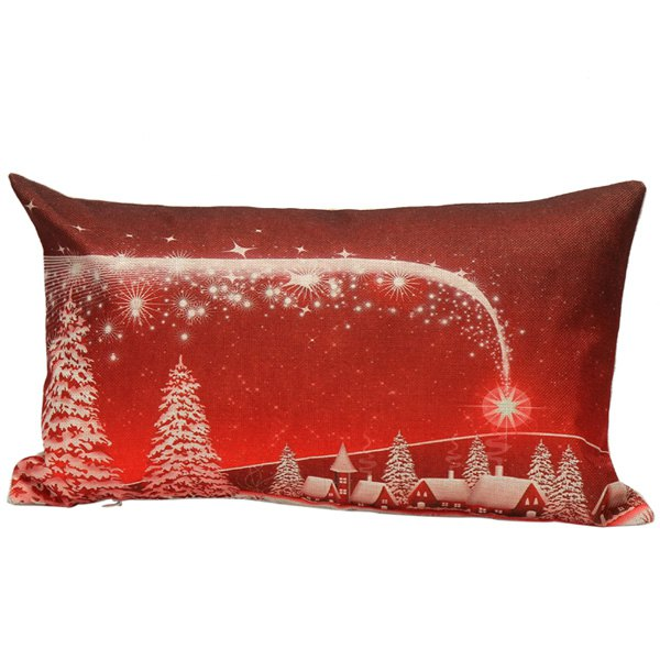 Home Decoration Christmas Linen Cushion Pillow Case linen christmas snowman printed home decor pillow case