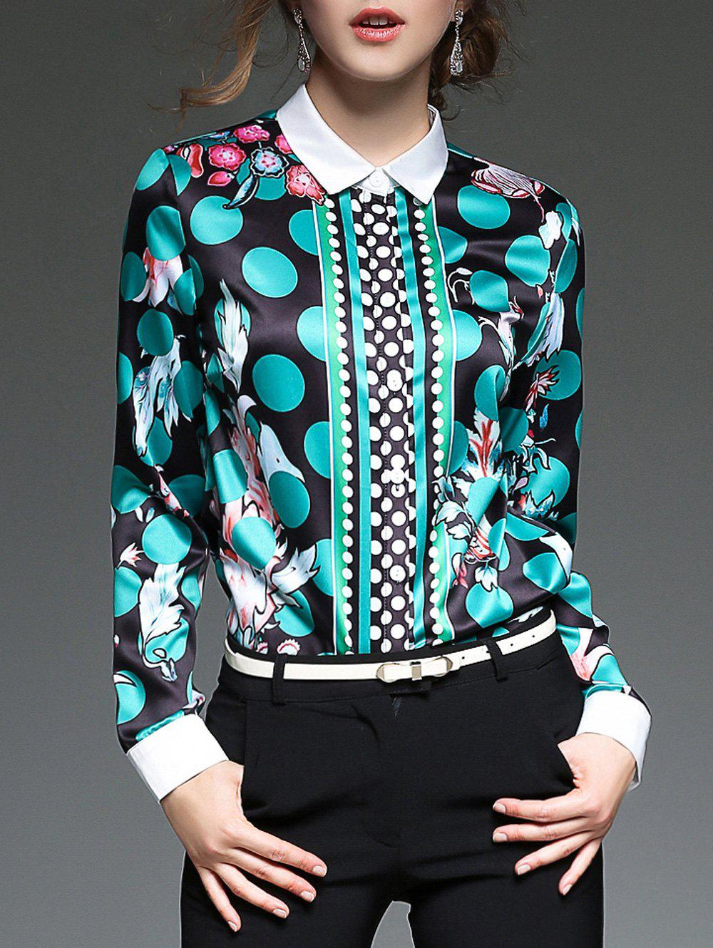Color Block Polka Dot Blouse - multicolorcolore M