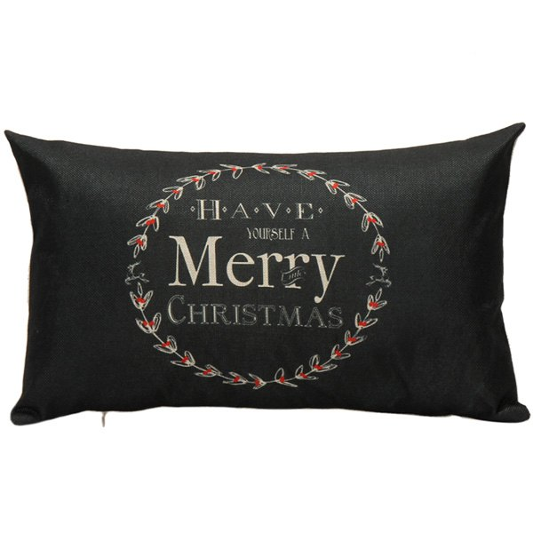 Merry Christmas Linen Sofa Cushion Pillow Case merry christmas deer printed sofa decorative pillow case