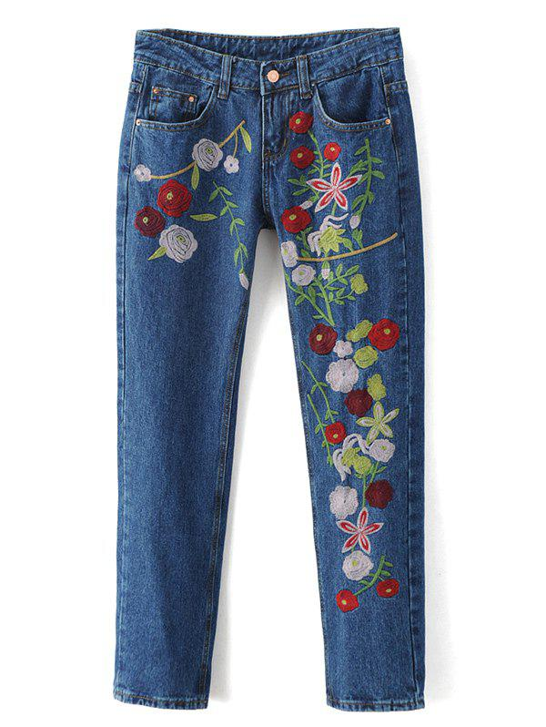 Jeans droits à broderies florales - Denim Bleu L