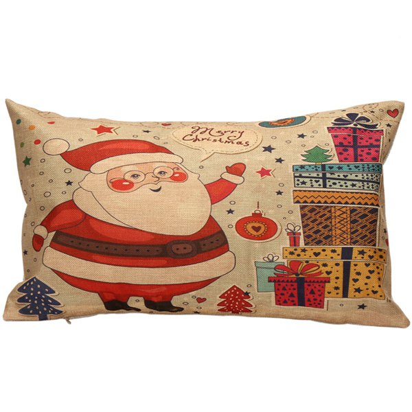 Christmas Santa Gift Print Home Decor Rectangle Pillow Cover