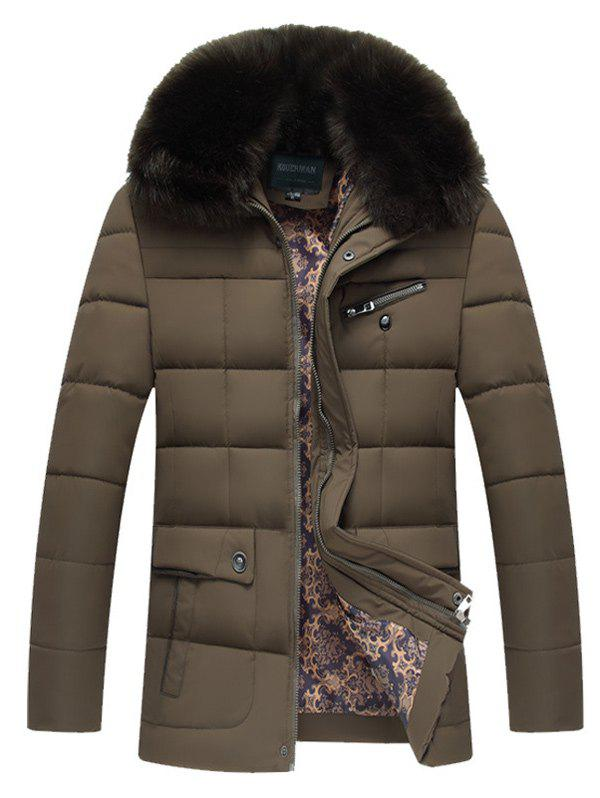Quilted Faux Fur Collar Zipper Up Coat - BROWN 2XL