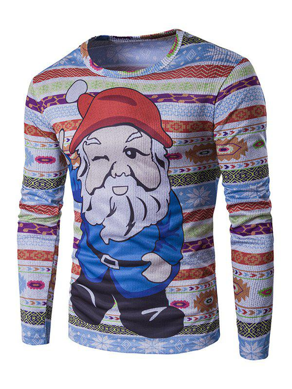 Long Sleeve 3D Father Christmas Cartoon Print T-ShirtMen<br><br><br>Size: 2XL<br>Color: COLORMIX