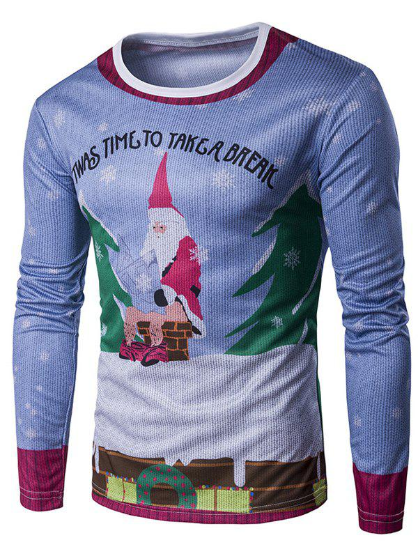Long Sleeve 3D Father Christmas and Roof Print T-Shirt - COLORMIX XL