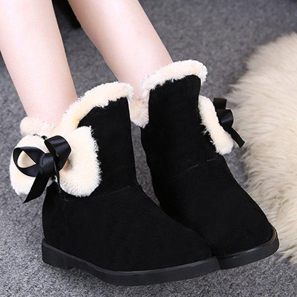 Fuzzy Bowknot Flat Heel Short Boots round flat bottomed sweet bowknot short boots