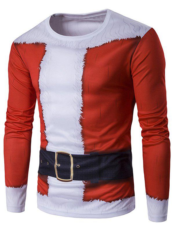 Long Sleeve 3D Father Christmas Costume Print T-Shirt, RED, XL in ...