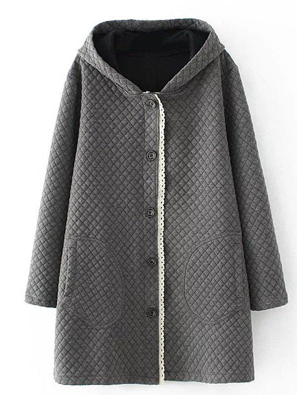 Plus Size Quilted Long Jacket with Hood - GRAY 3XL