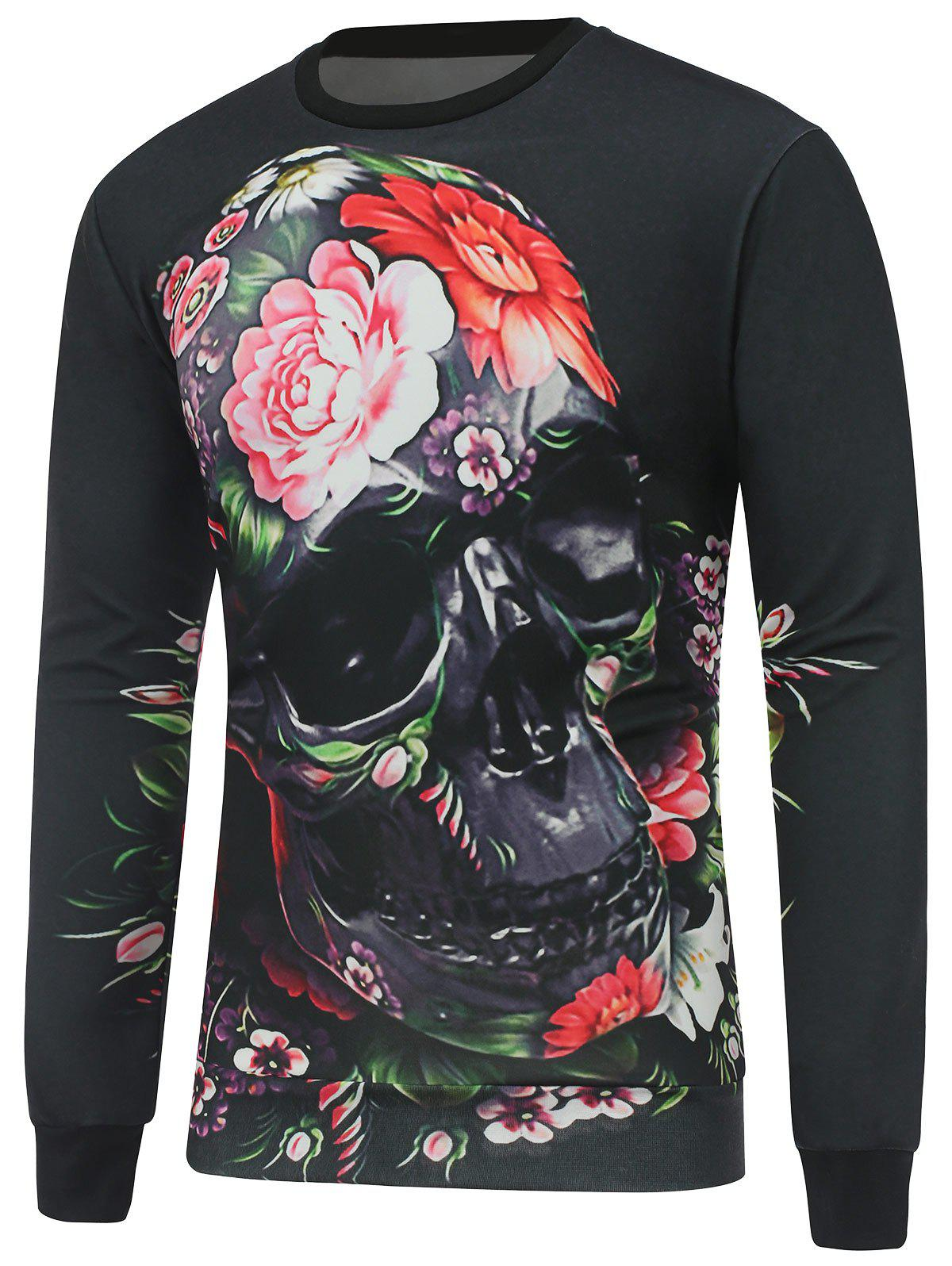 Crew Neck Long Sleeve Skull Sweatshirt - BLACK S