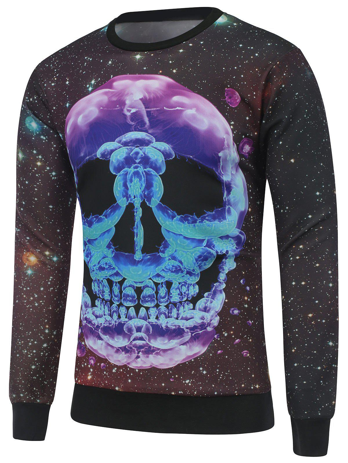 Crew Neck Skull Print Galaxy Sweatshirt - BLACK XL