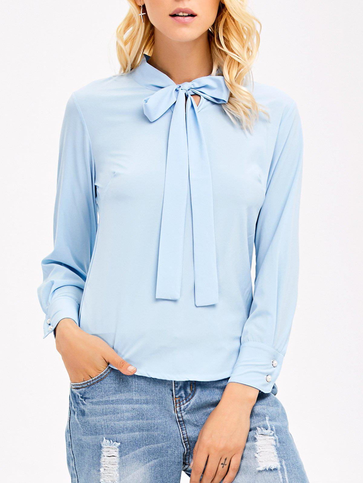 Pussy Bow Tie Long Sleeves Blouse - LIGHT BLUE L