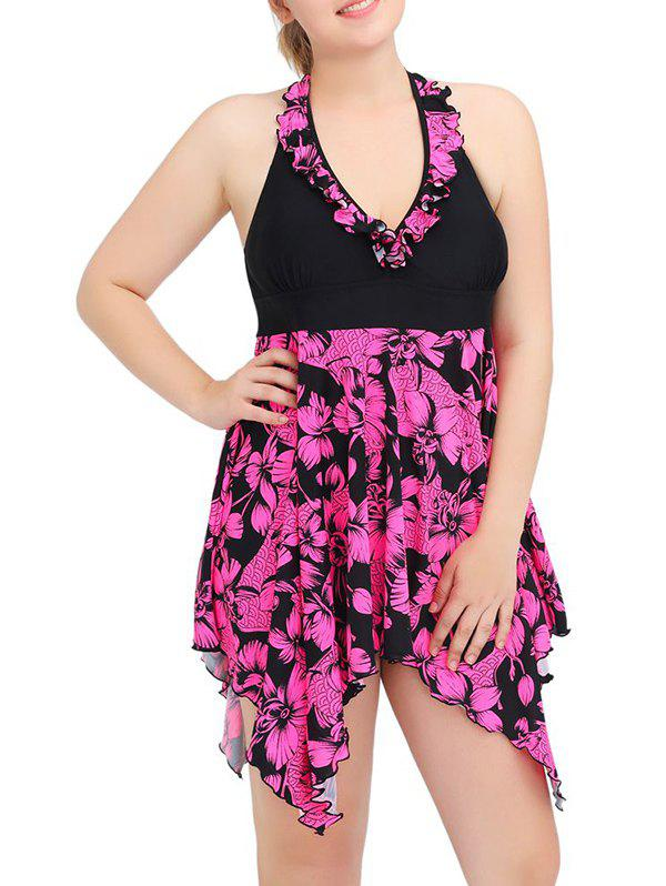 Halter Asymmetric Floral Skirted Tankini Swimsuit - ROSE RED 5XL