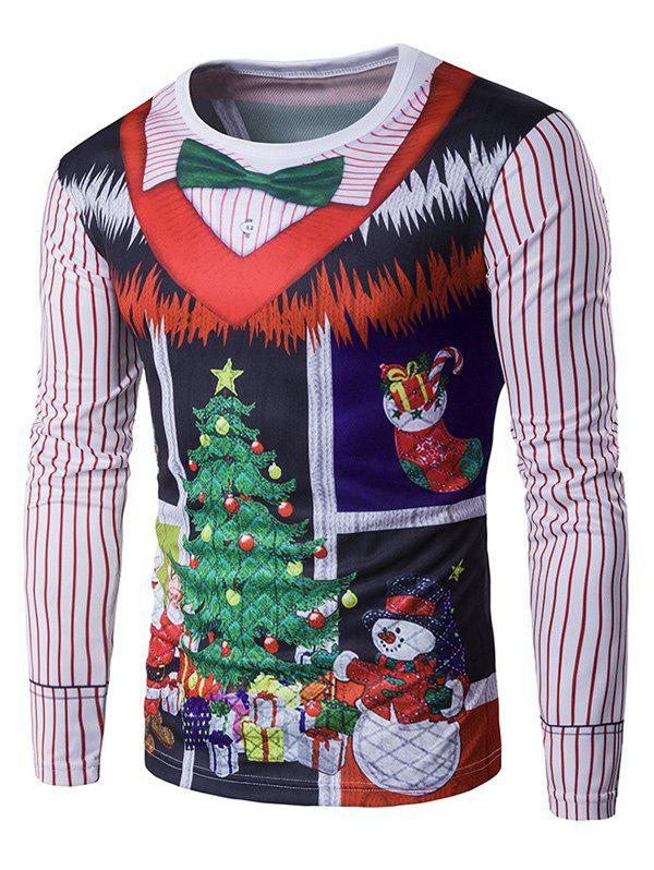 Long Sleeve 3D Christmas Bow Tie Costume Faux Twinset Print T-Shirt - COLORMIX XL