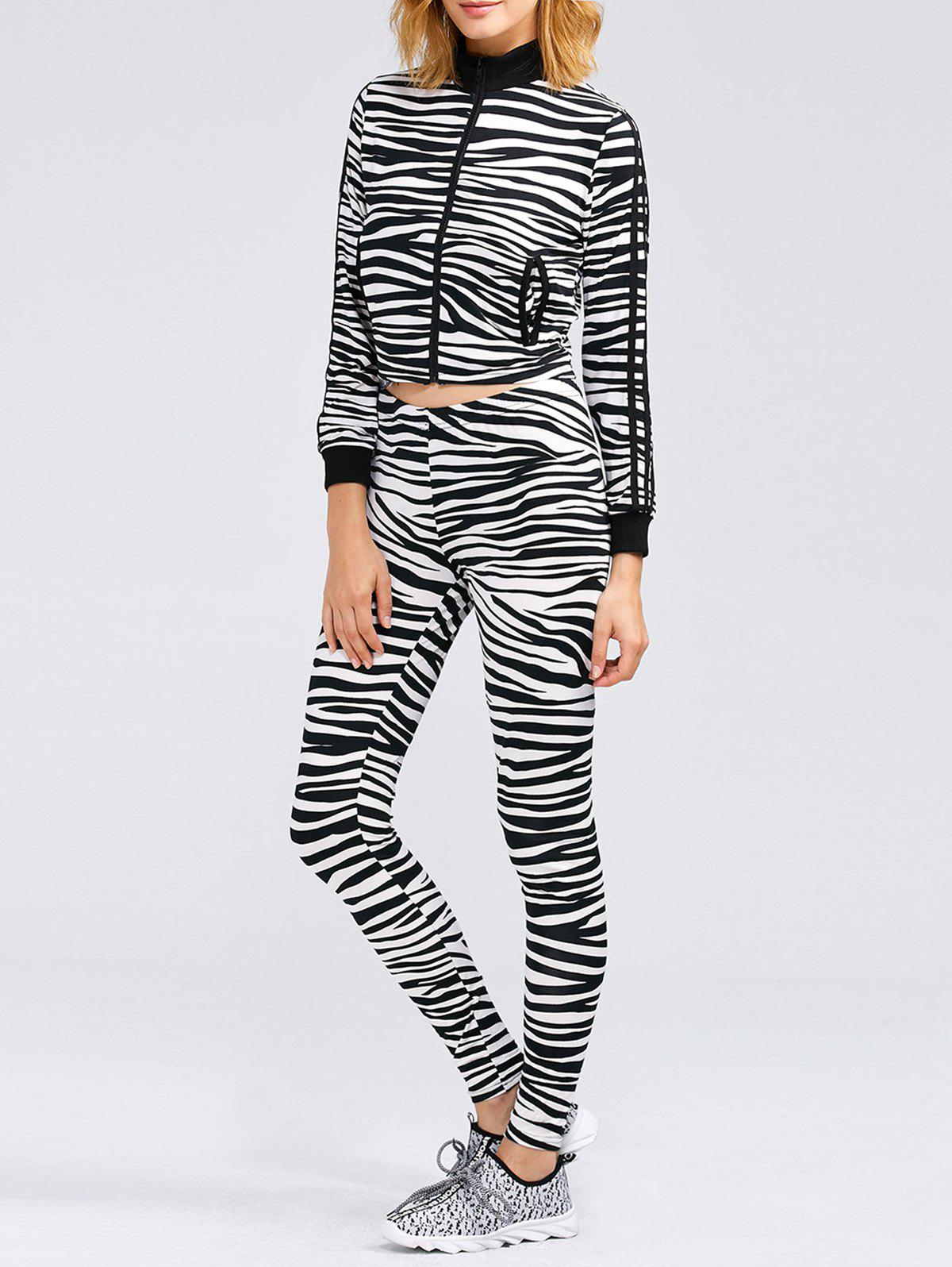 Zebra Striped Crop Running Jacket and Skinny Pants - ZEBRA STRIPES XL