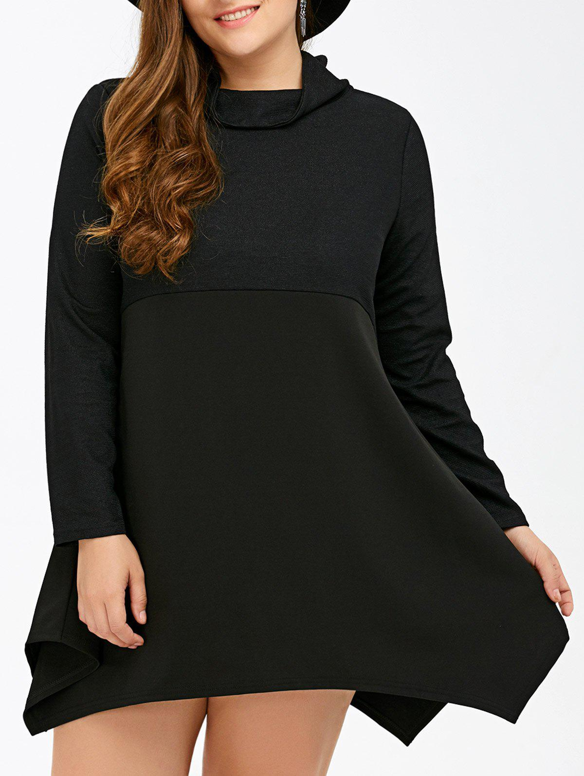 где купить Long Sleeve Asymmetrical Plus Size Handkerchief Dress дешево