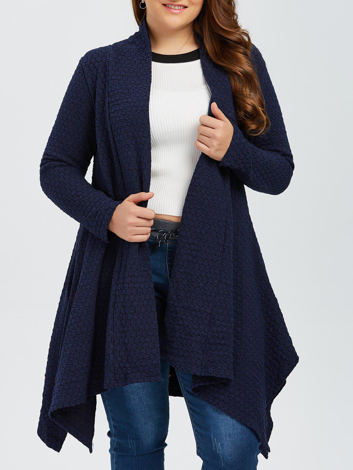 Plus Size Asymmetric Dotted Knitted Long Duster Cardigan, PURPLISH ...