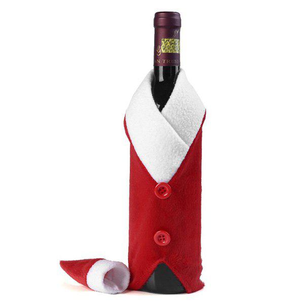 Christmas Table Decor Santa Clothes Wine Bottle Cover Bag - RED/WHITE