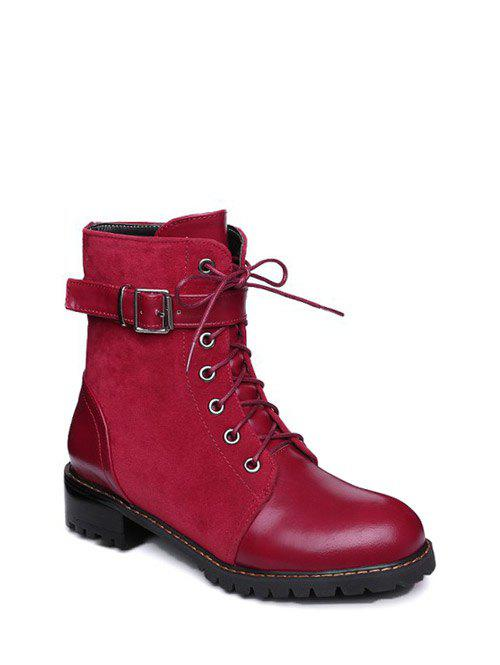 Buckle Strap Suede Insert Combat Boots
