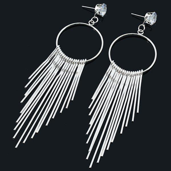 Rhinestone Circle Fringe Earrings - SILVER