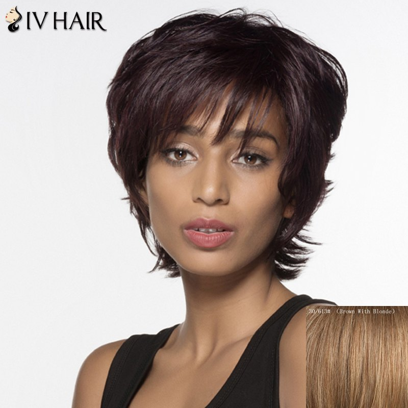 Short Full Bang Tail Upward Siv Hair Human Hair WigHair<br><br><br>Color: BROWN WITH BLONDE