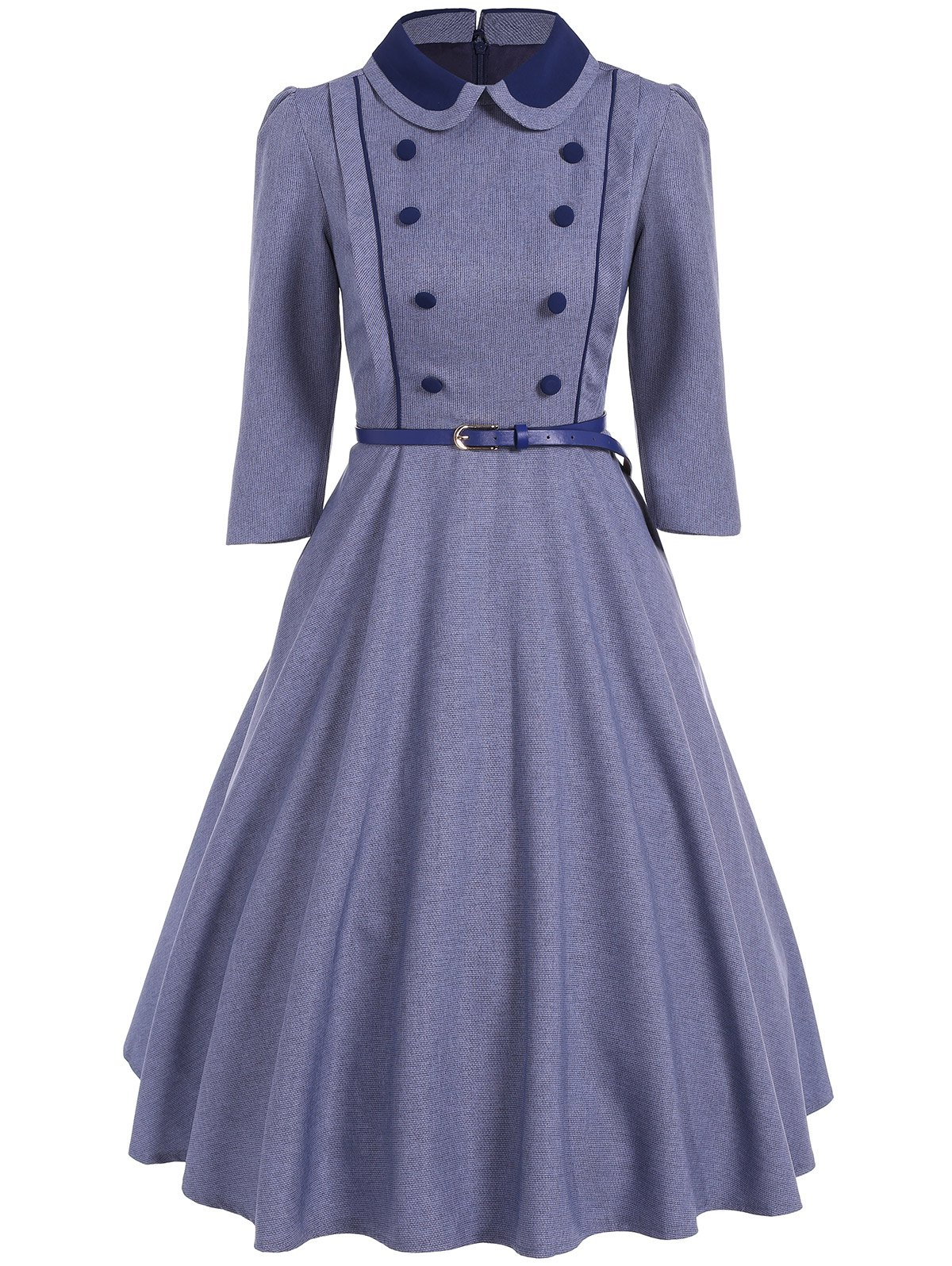 Double Breasted A Line Vintage DressWomen<br><br><br>Size: S<br>Color: STONE BLUE