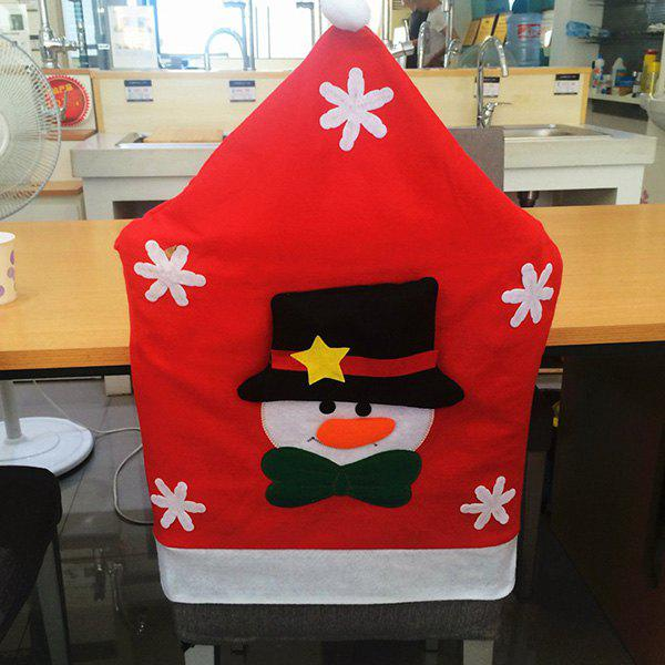 Christmas Table Decor Snowman Pattern Chair Back CoverHome<br><br><br>Color: RED