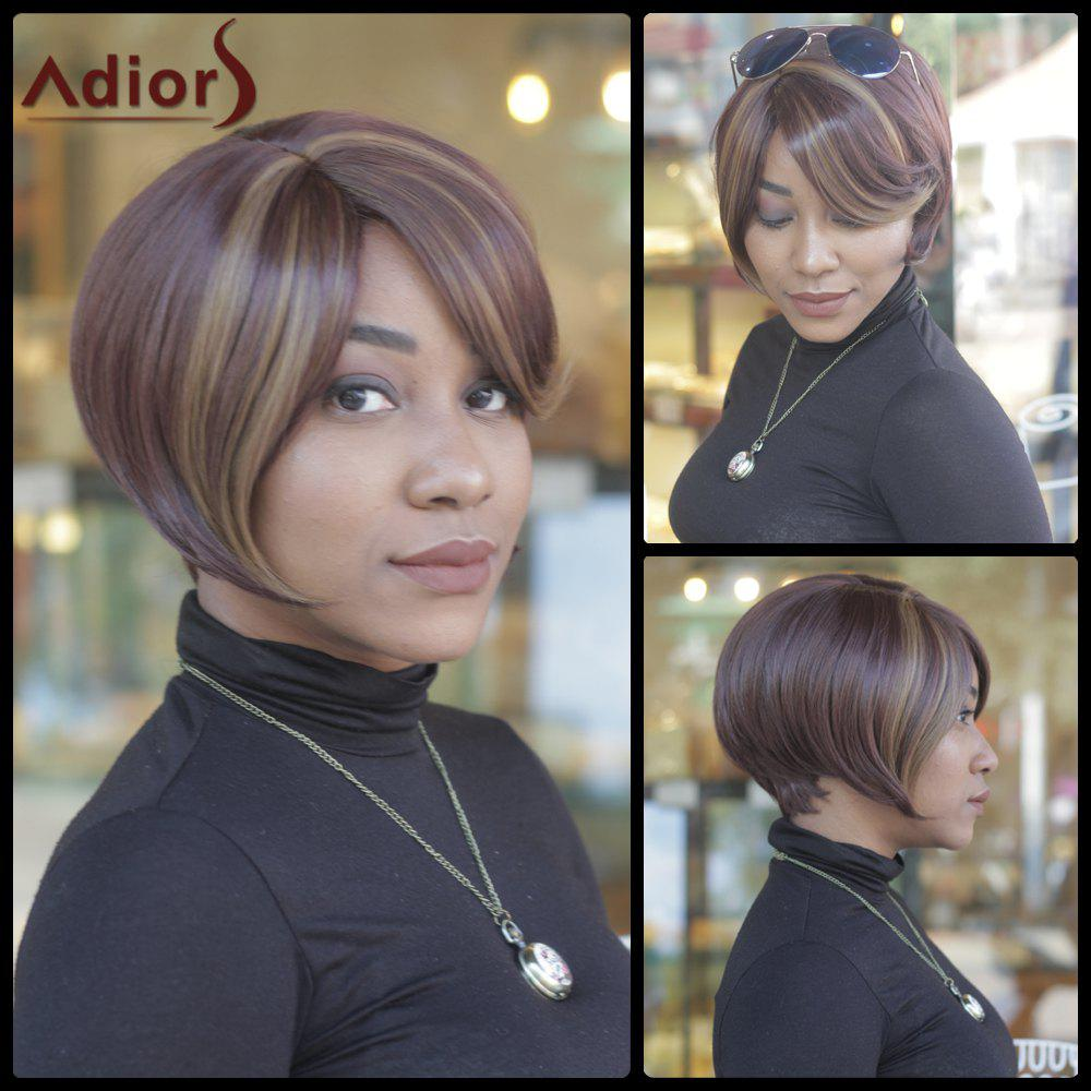 Trendy Side Bang Straight Capless Dark Brown Highlight Synthetic Womens Short Wig