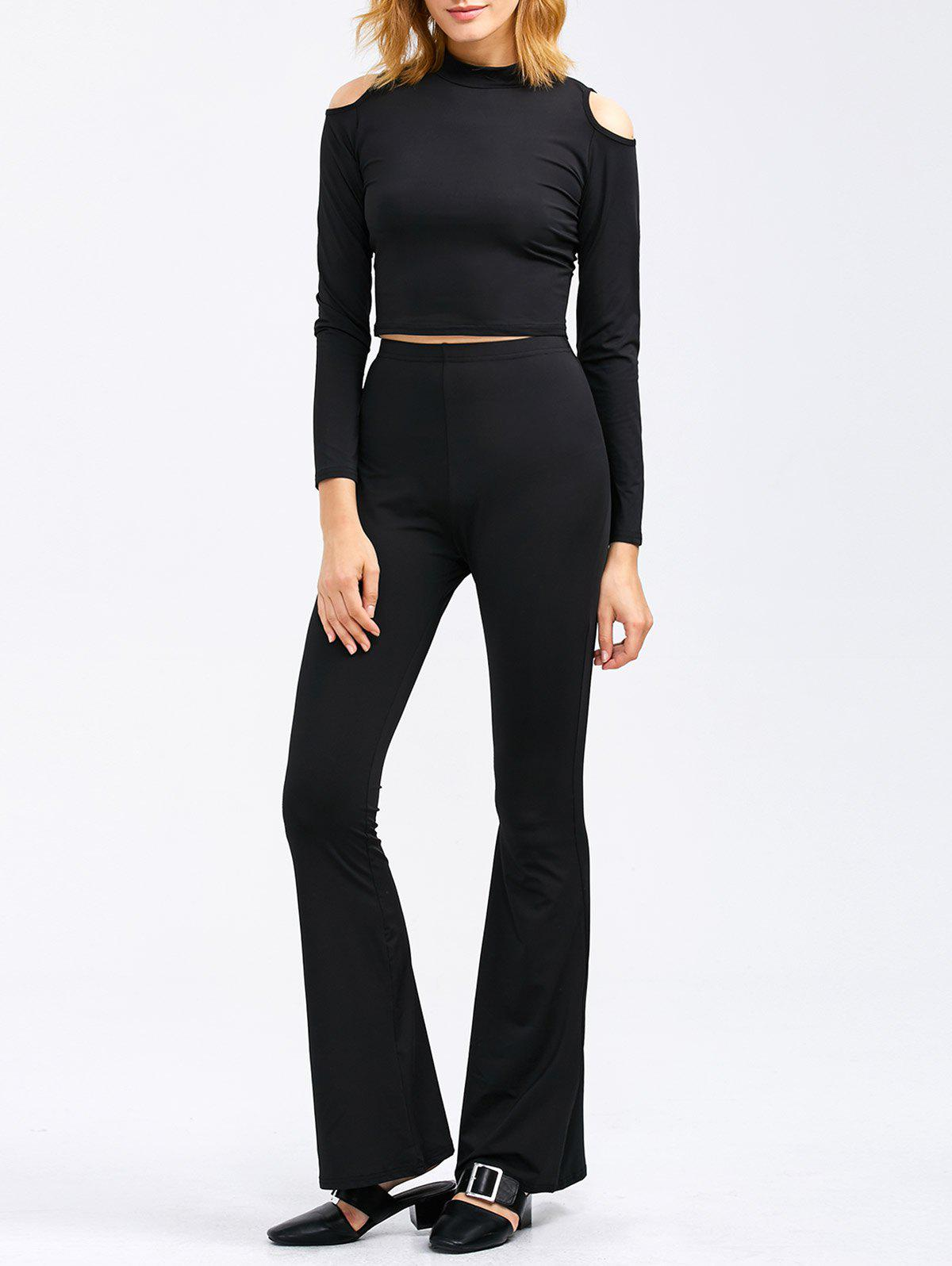 Cold Shoulder Crop Tee and Bootcut Flared Pants - BLACK L