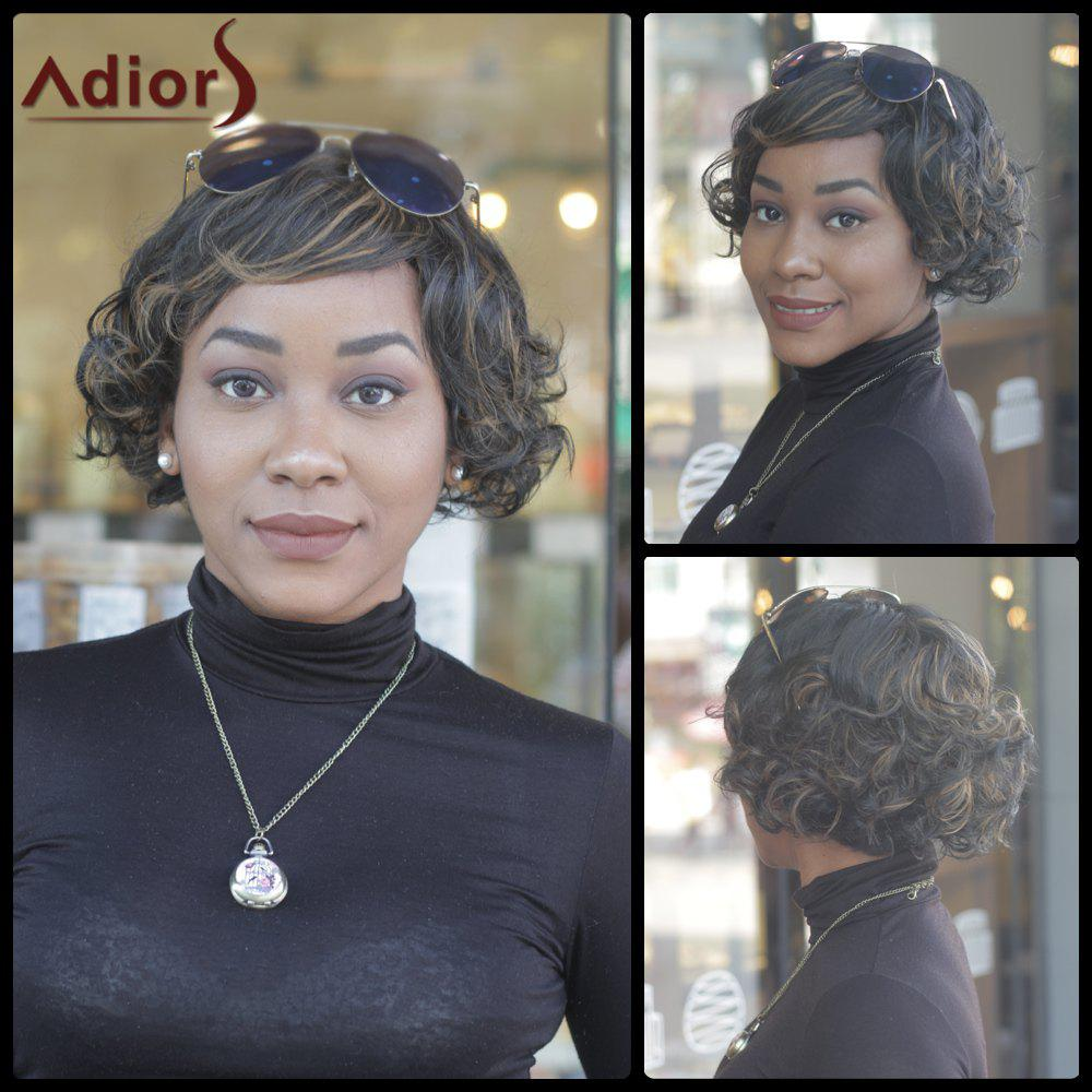 Prevailing Women's Short Curly Mixed Color Side Bang Synthetic Wig