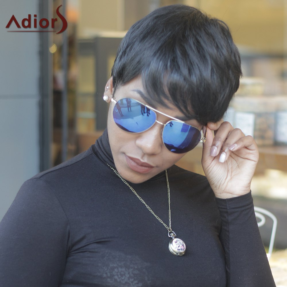 Ultrashort Side Bang Pixie Cut Straight High Temperature Fiber WigHair<br><br><br>Color: BLACK