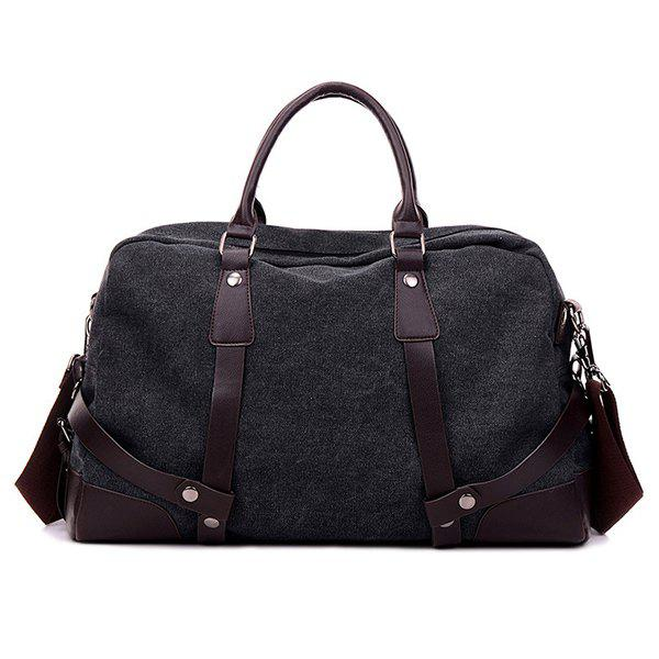 Zip Canvas Weekender Bag - BLACK