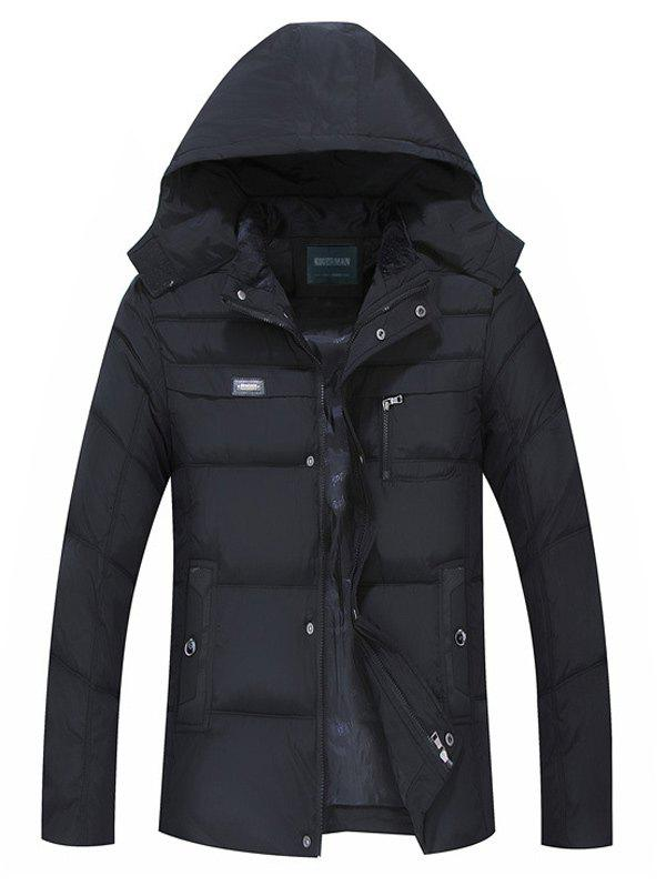 Full Zip Quilted Hooded Coat - BLACK 3XL