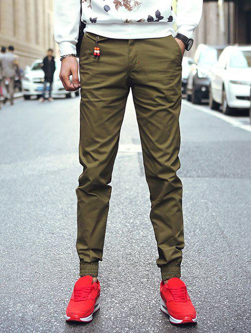 Plus Size Zipper Fly Beam Feet Beading Embellished Jogger PantsMen<br><br><br>Size: 31<br>Color: ARMY GREEN