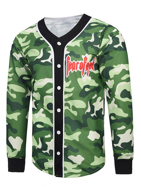 Buy V Neck 3D Camouflage Single Breasted Jacket CAMOUFLAGE COLOR