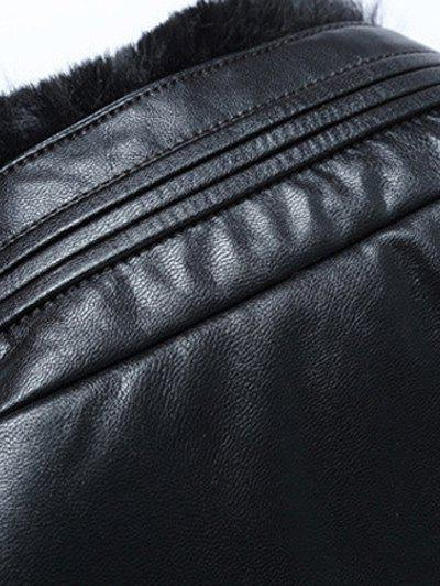 Zip Up Stand Collar PU Leather Padded Jacket - BLACK 3XL