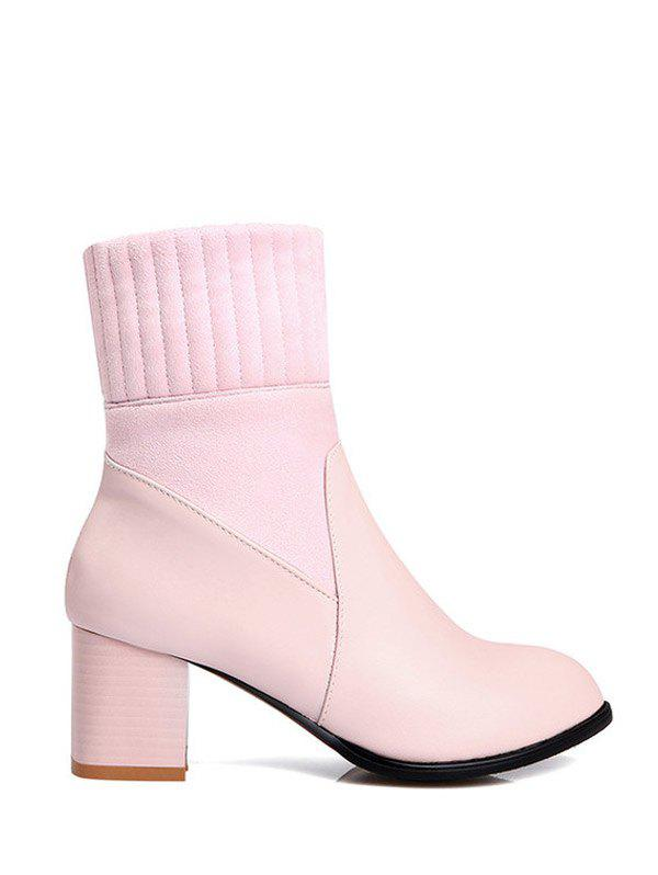 Chunky Heel Suede Panel Short Boots - PINK 38