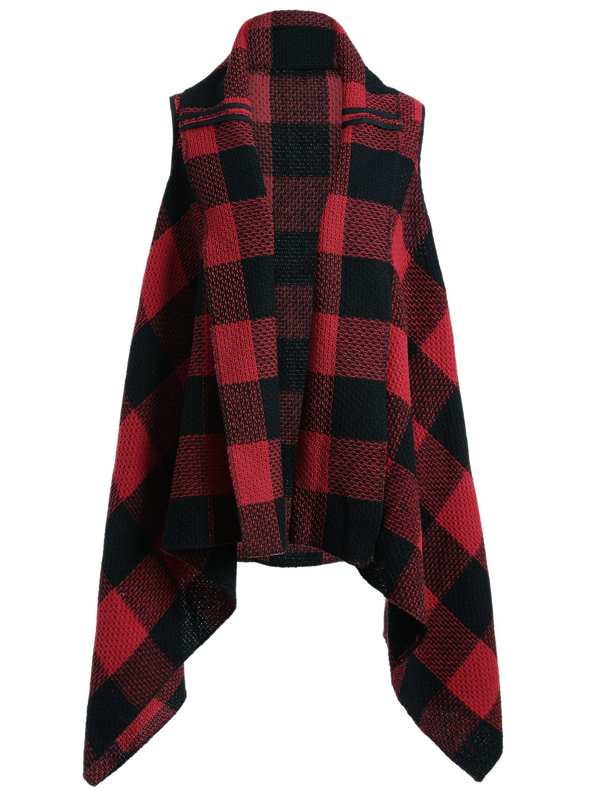 Plaid Pocket Asymmetrical Vest - RED ONE SIZE