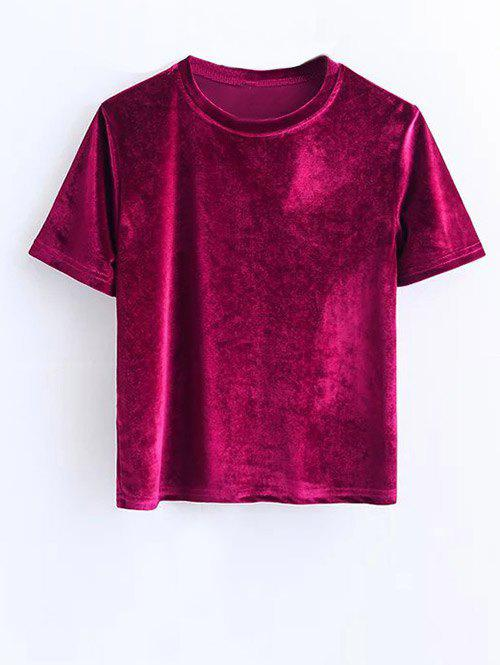Side Slit Short Sleeve Velvet Tee - PURPLISH RED S