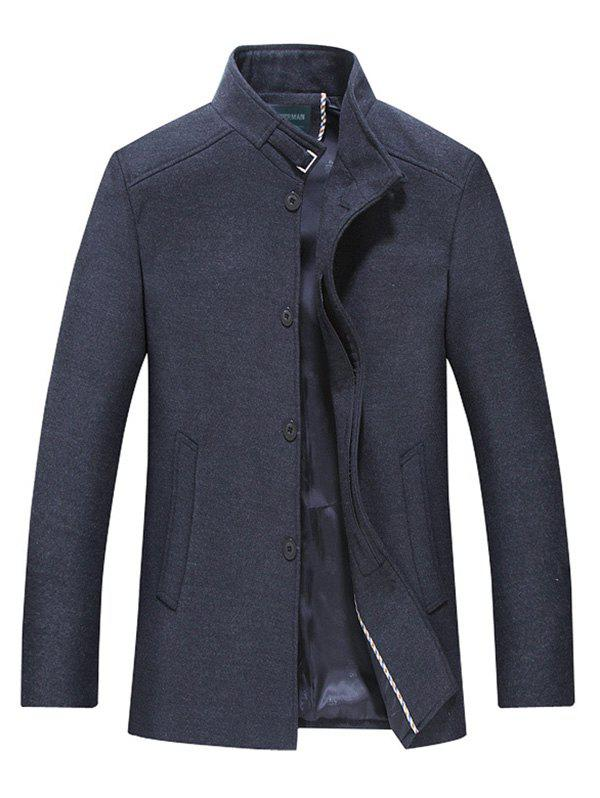 Stand Collar Button Up Wool Mix CoatMen<br><br><br>Size: L<br>Color: BLACK GREY