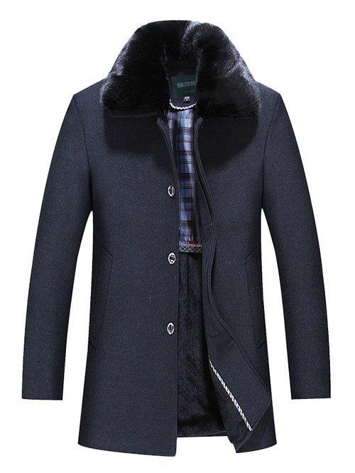 Faux Fur Collar Single Breasted Wool Mix Coat - BLACK L