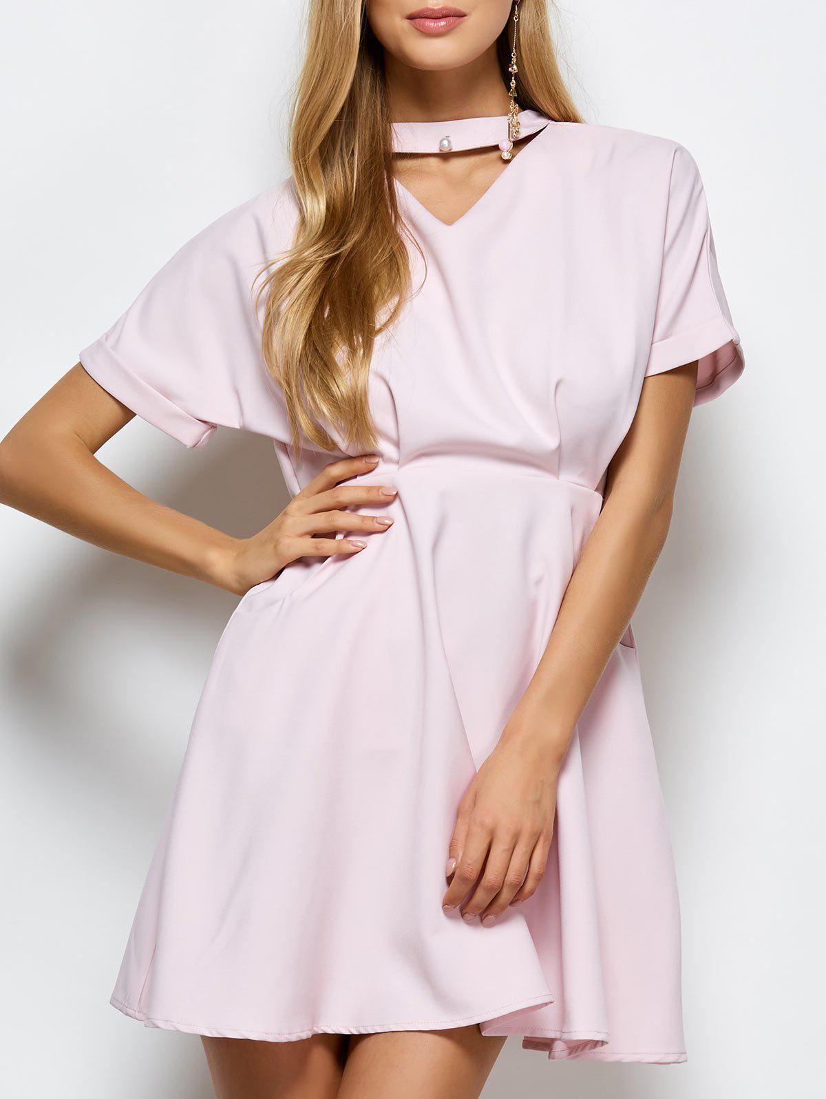 A Line Choker Casual Dress With Pockets - PINK M