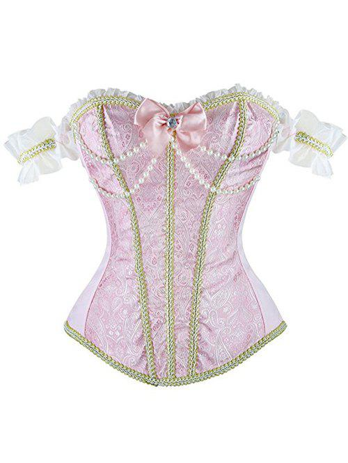 Beaded Waist Training CorsetWomen<br><br><br>Size: S<br>Color: PINK