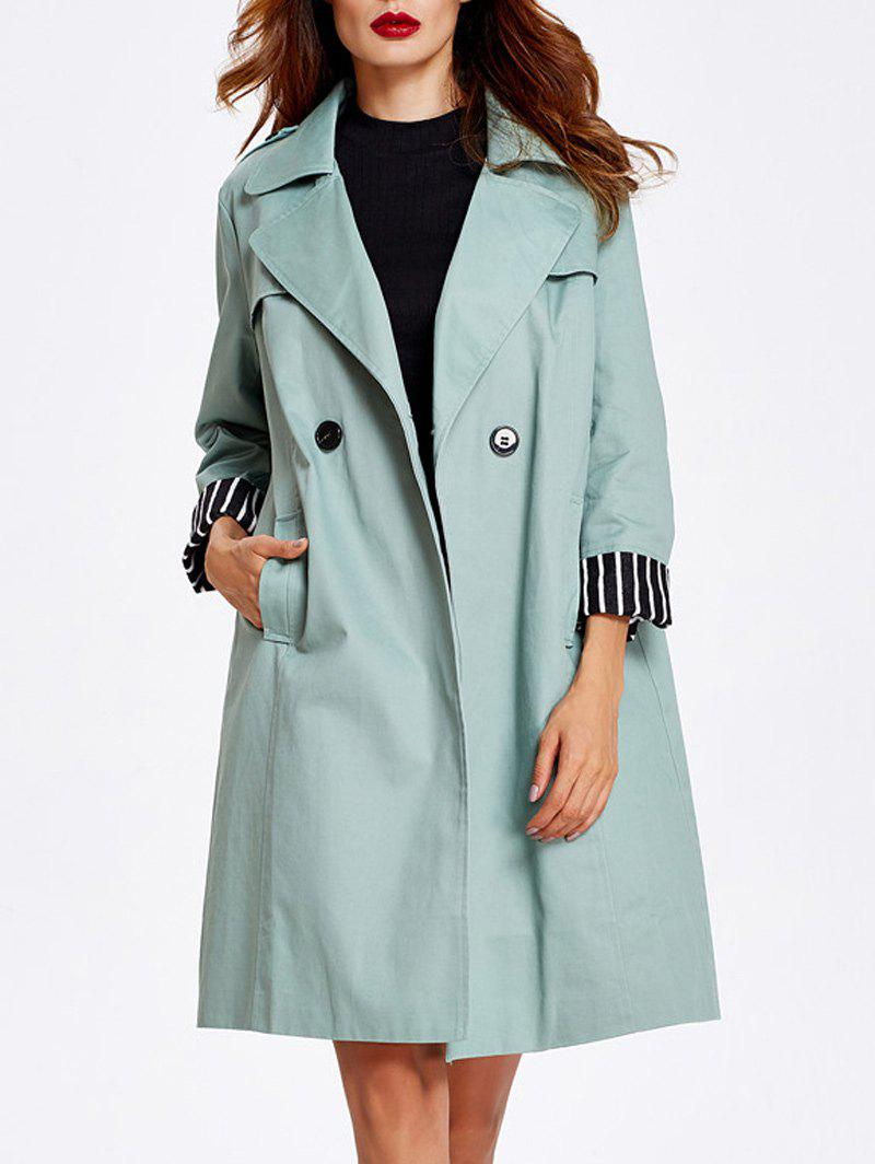 Striped Hem Button Up Trench Coat рубашка allan neumann голубой 50 размер