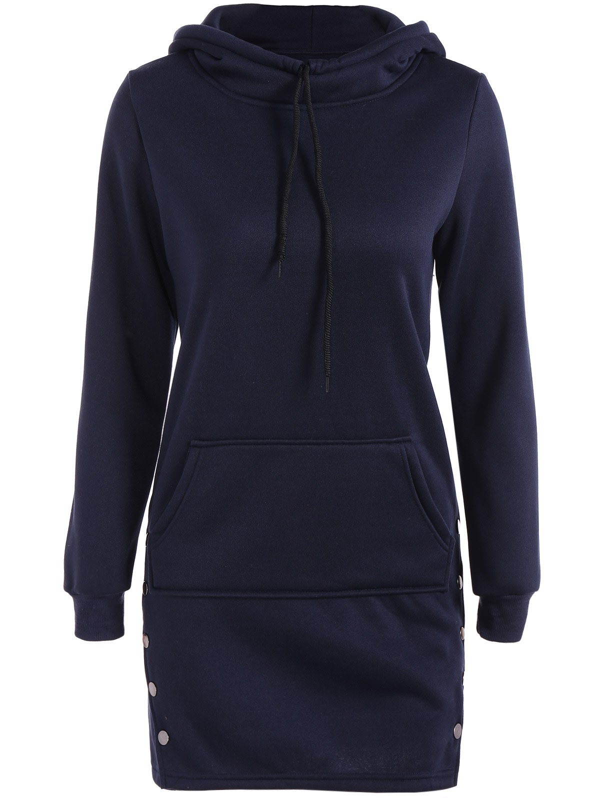 Kangaroo Pocket Button Long HoodieWomen<br><br><br>Size: M<br>Color: PURPLISH BLUE