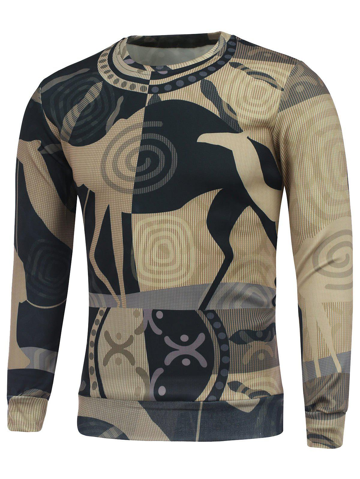 Buy Abstract Graphic Printing Crew Neck Sweatshirt COLORMIX
