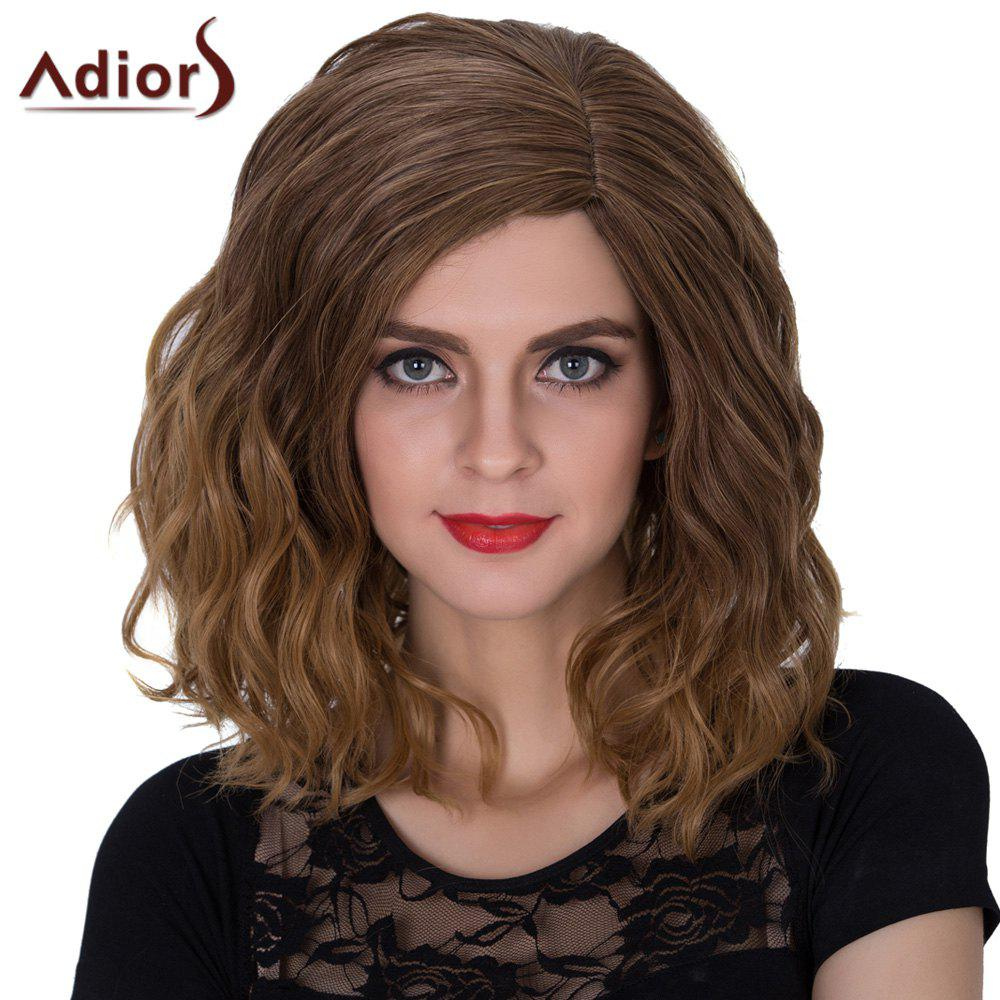 Adiors Medium Fluffy Side Parting Color Mixed Curly Synthetic WigHair<br><br><br>Color: GRADUAL BROWN